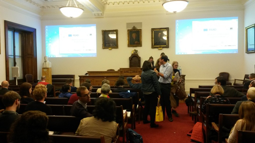 Getting ready for the next presentations in the Linnean Society Meeting Room [Image by Louise Seaward]