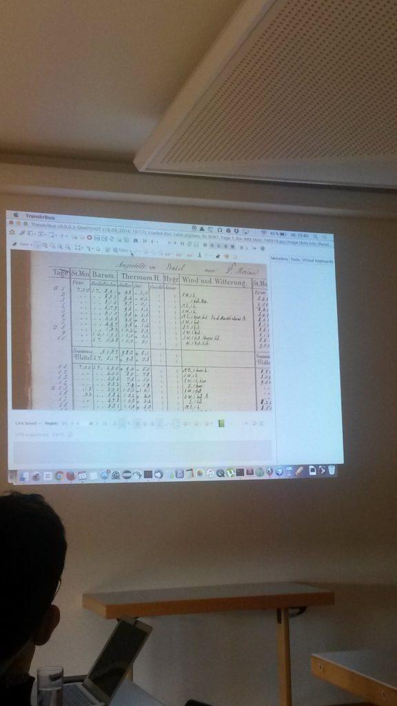 Demonstrating the Table Editing Tool in Transkribus [Image by Louise Seaward]